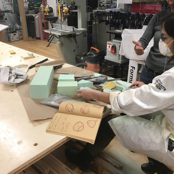 MFA Products of Design  alumnus Alexia Cohen is carving foam blocks using the VFL's collection of hand tools to create form studies toward her designs for women's products.