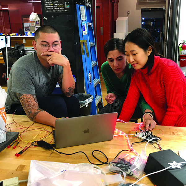 "Chester, the Lab's Prototyping Specialist appears to be perplexed while helping first year students from  MFA Products of Design  . Together, they were troubleshooting some code for an arduino for their ""Making Studio"" class. After spending 2 hours debugging, they finally reached the solution."