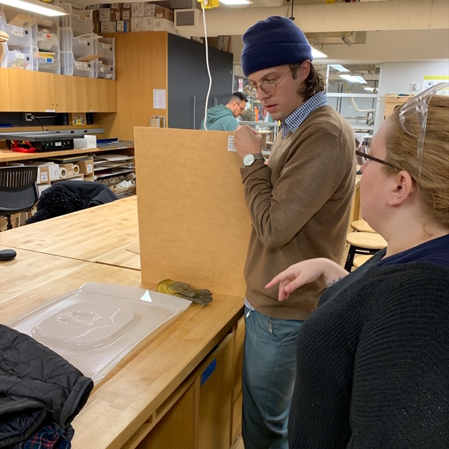 Jimmy Mezei, a first year  MFA Fine Arts  student, continues his vacuform project at the VFL. Today Jimmy got a consultation from VFL Lab Manager Oya on how to use the VFL's vacuform machine.