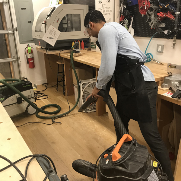 Shot out to all students who help keep the VFL clean! Bravo  MFA Fine Arts  student Juan Bravo for vacuuming after preparing 4 of his 9 panels that he will be presenting at his open studio on December 13th.
