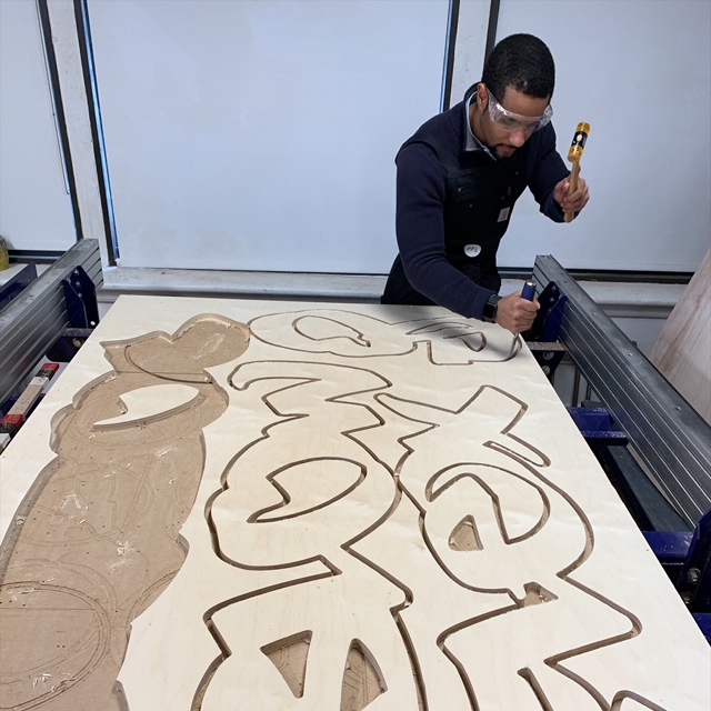 2nd year  MFA Fine Arts  student Juan Bravo is back in the VFL using the Shopbot CNC router to cut out plywood layers for brand new freestanding painted sculptures. Juan is gearing up for this thesis presentation this spring.