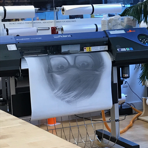 While the holiday was nice, we at the VFL are thankful to be back! Warming up the Vinyl printer today, LeeHo Yo of the  MFA Fine Art  department experimented with printing on bonded leather.