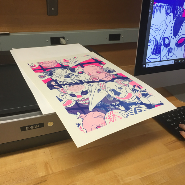 """First-year MFA Illustration student Hwarim Lee in making a vinyl reproduction of a Risograph print for presenting in the upcoming MFA Illustration show """"The God of Dark Laughter"""" at SVA's Grammercy Gallery space."""