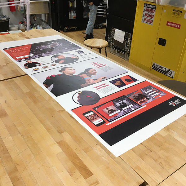 One of the featured components are banner displays describing the projects, which are mainly printed on the Visible Futures Lab's vinyl printer and cutter.