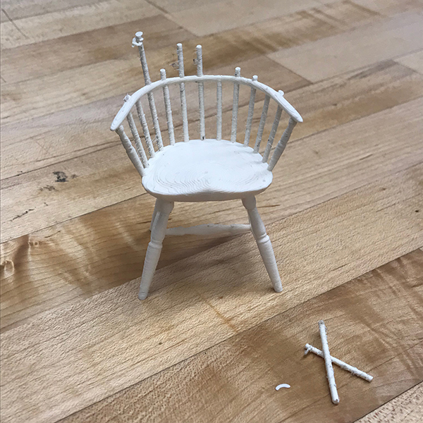 Carol will ultimately use this chair as a set piece for an interactive stop motion/photography story where a small sentient chair learns that it is loved by all of it's furniture friends.