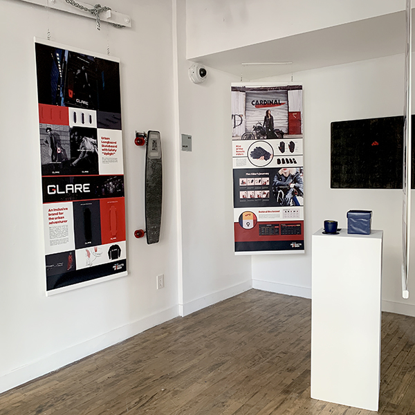 Second Year  Products of Design  Students have set up a great exhibition of their work in the VFL/PoD gallery. Using the idea of a Start-Up as a jumping off point the students broke into teams to tackle different parts of the design process.
