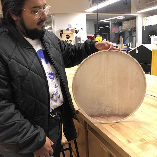 Our very own student worker Carlos Rosales from  MFA Fine Arts , used the CNC router for a project. As part of his studio work, he is making frames out of plywood.