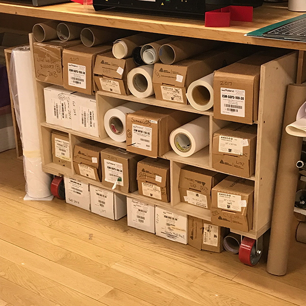 From removable Wallflair vinyl, to Photo Matte paper, to Solvent Gloss Canvas, we have printer media to meet basically all of your printing needs.WE do run our of material at the end of the semester, so make sure to talk to staff about inventory.