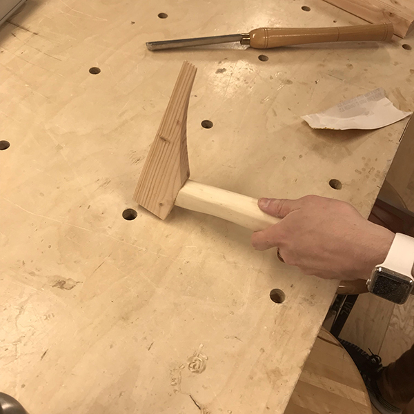 John Boran was using our wood shop to make a proposed geological hammer designed to be used on Mars. This project is part of his thesis in the  Products of Design  program, proposing a variety of utility products for life on Mars.