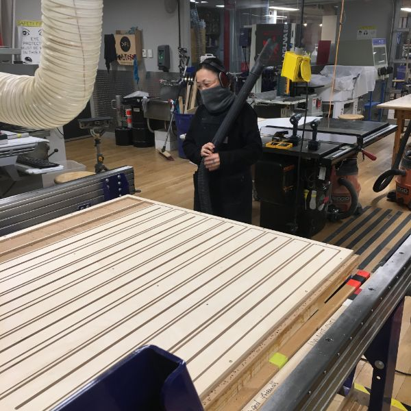 CHiKA, the VFL's  Artist in Resident , is scaling her operations by taking to the shop bot to start cutting frames for her next round of illum sculptures.