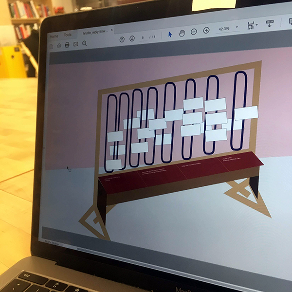 MFA Products of Design  student Hannah Rudin ('19) used acrylic to laser cut a quarter-scale model of the wooden structure she will be building for her thesis experience.