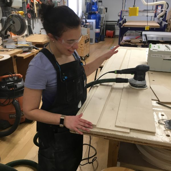 Hannah, an  MFA Products of Design  second year, is in the shop working on building an interactive installation which will take place next weekend in Washington Square Park. The installation is a large plywood structure on which passers-by will be able to share their thoughts about how they are involved in political discourse.