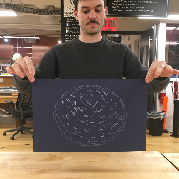 Each participant will receive a star map laser cut and printed with day, time, and location specific details, allowing them to line up and spot individual constellations, as well as endlessly reproduce the map for future tours.