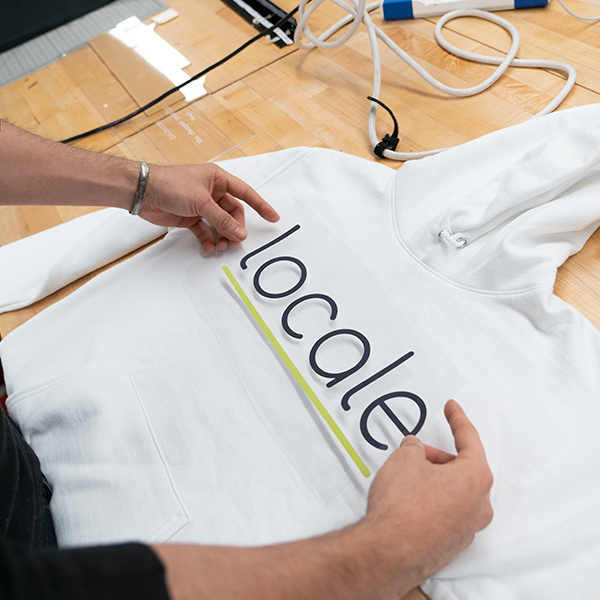 Andre Orta from  MFA Product of Design  uses the heat transfer tonight to make his hoodie project.