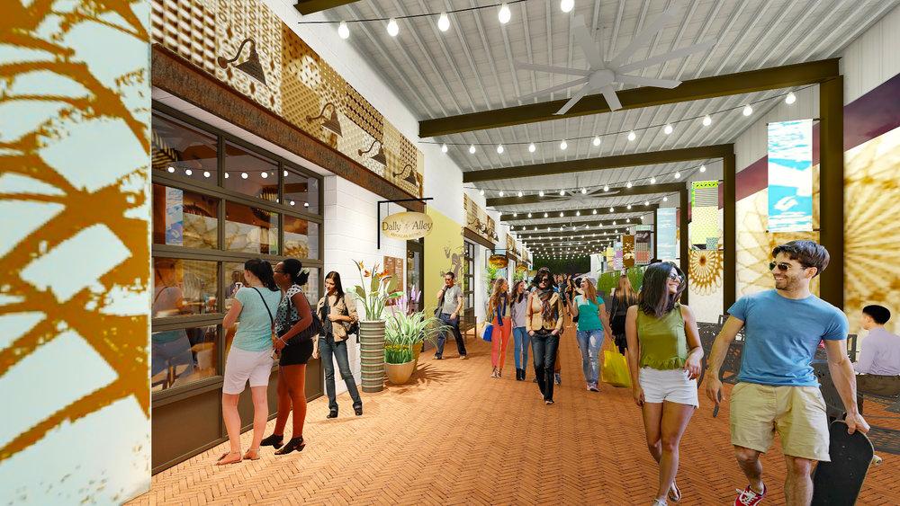 Art Walk- The Arts District Building & Shaded Art Walk