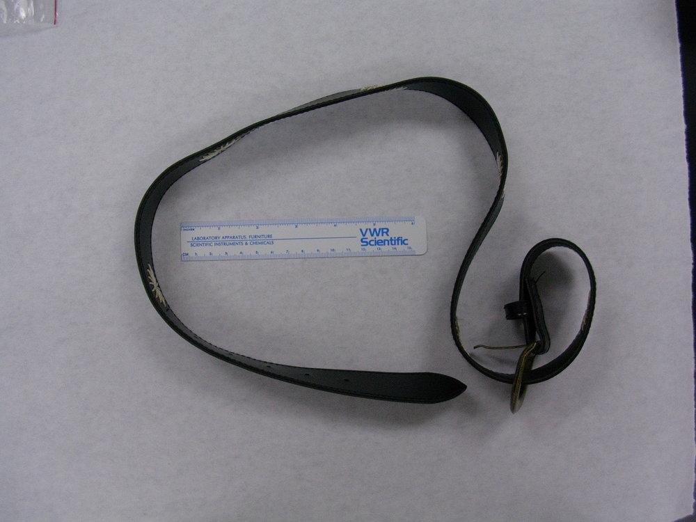- Case evidence: Belt used in crime.
