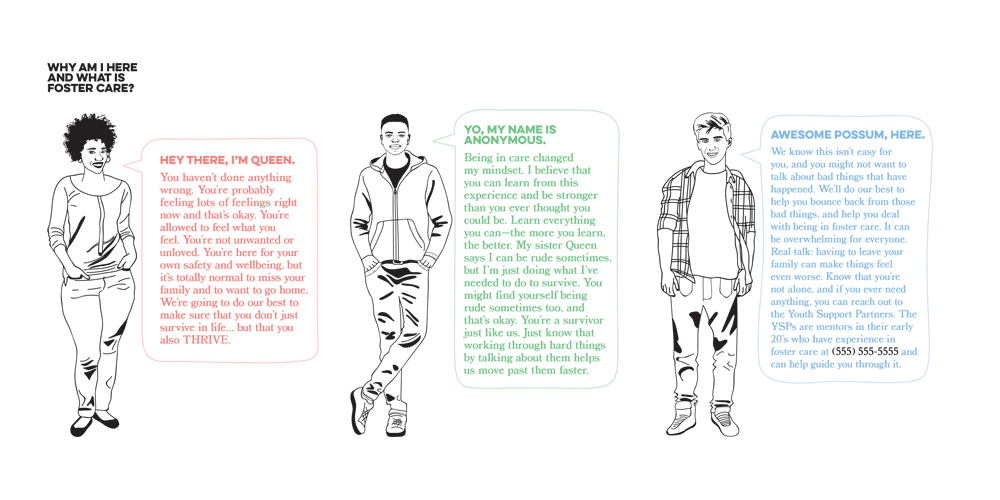 """These three characters will serve as """"guides"""" for youth in foster care, and were dreamed up by youth who are currently in the foster care system, and our Youth Support Partners who have lived experience in the system and provide mentorship to youth. The words they say and their personalities were all written by youth. Illustrations by Meredith Joos."""