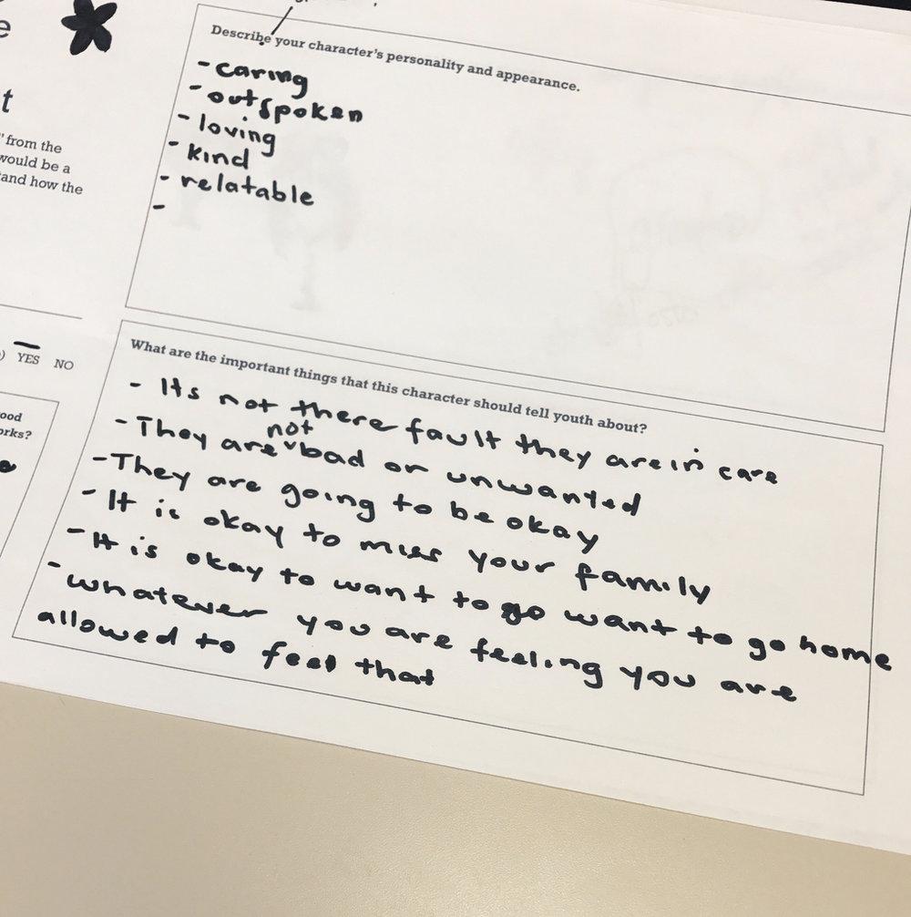 """Youth were given character development worksheets to imagine a character who could serve as a """"guide"""" to help explain the foster care system. Their ideas were turned into illustrated characters."""