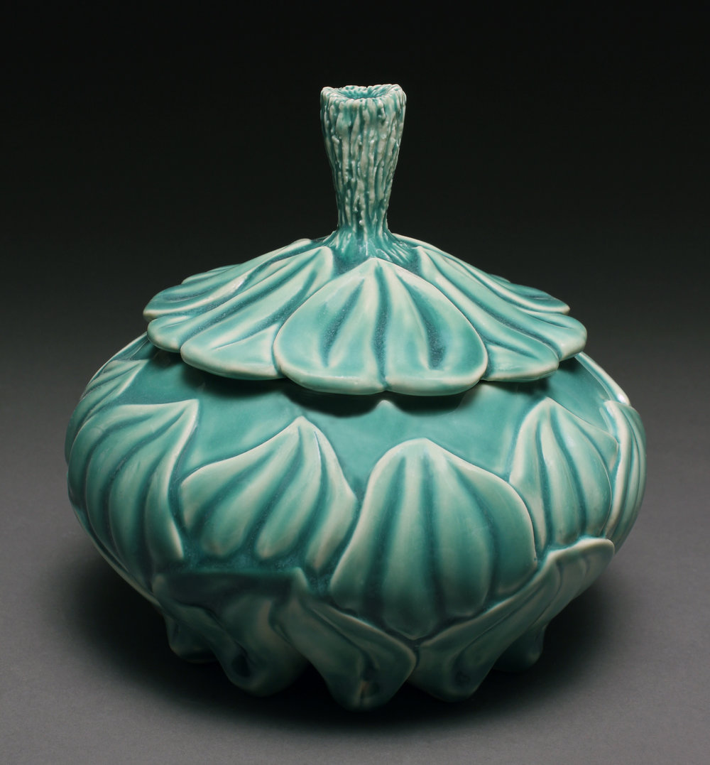 Lynnette Hesser, Oxy Blue Carved Jar for B Metro  Article.jpg