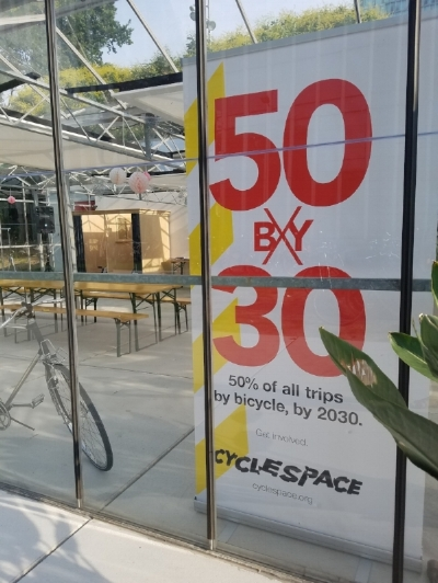 A large banner pronounces CycleSpace's goal of 50% of trips by bicycle by 2030.