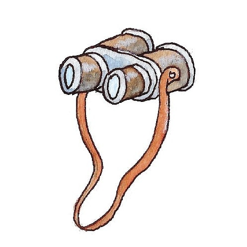 My new profile pic shows how much I love drawing goggles and binoculars 😅 . . #illustration #illustratorsofinstagram #editorialillustration #ink #watercolor #binoculars #childrensbookillustration #childrensbooks #bookstagram #kidlitart #kidlit #kidlitillustrator #scbwi #kidsbooks