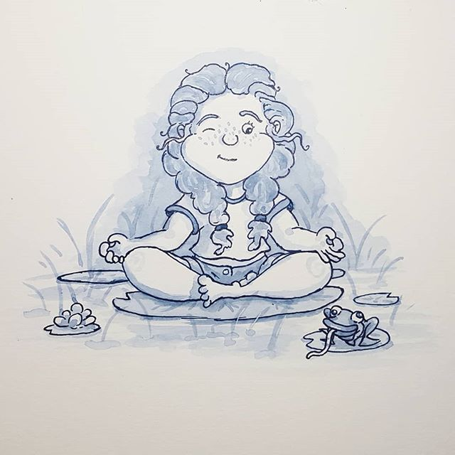 Inktober Day 2! Today's theme was tranquil. . . . . #illustration #inktober #inktober2018 #illustrationartists #frog #tranquil #illustratorsofinstagram #editorialillustration #ink #girls #childrensbookillustration #childrensbooks #bookstagram #kidlitart #kidlit #kidlitillustrator #kidsbooks #scbwi