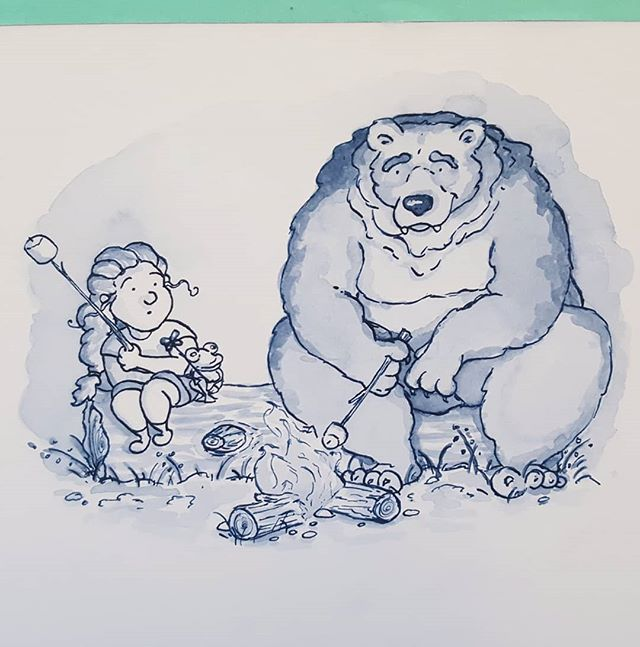 Day 3! Today's theme was roasted! . . #illustration #inktober #inktober2018 #illustrationartists #campfire #bears #roasted #illustratorsofinstagram #editorialillustration #ink #girls #childrensbookillustration #childrensbooks #bookstagram #kidlitart #kidlit #kidlitillustrator #kidsbooks #scbwi