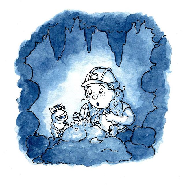 Inktober Day 9! Today's theme was precious! . . #illustration #illustratorsofinstagram #inktober2018 #inktober #precious #cave #bear #editorialillustration #childrensbooks #childrensbookillustration #bookstagram #scbwi #kidlitart #kidlit #kidlitillustrator #kidsbooks