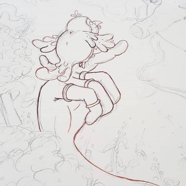 I started inking today! . . . #illustration #illustratorsofinstagram #editorialillustration #ink #wip #sketch #bird #childrensbookillustration #plants #childrensbooks #kidsbooks #kidlit #kidlitillustrator #bookstagram #scbwi #kidlitart #inktober