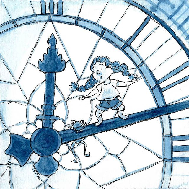 Inktober Day 14! Yesterday's theme was clock! . .  #illustration #illustratorsofinstagram #inktober2018 #inktober #clock #ink #editorialillustration #childrensbooks #childrensbookillustration #bookstagram #scbwi #kidlitart #kidlit #kidlitillustrator #kidsbooks