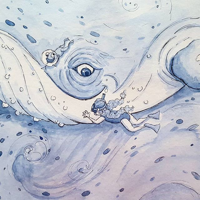 Inktober Day 12! Today's theme was whale! . .  #illustration #illustratorsofinstagram #inktober2018 #inktober #whale #ink #editorialillustration #childrensbooks #childrensbookillustration #bookstagram #scbwi #kidlitart #kidlit #kidlitillustrator #kidsbooks