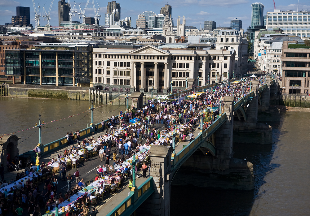 "Photo: ""Feast on the Bridge"" event for 35,000 diners on Southwark Bridge, London"