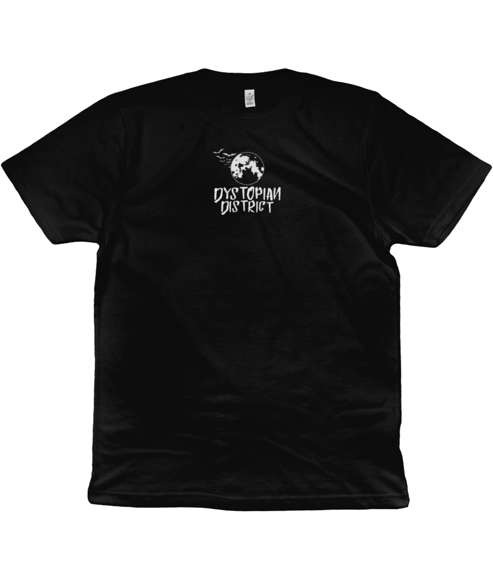 White Moon Centre Embroidered Black T-Shirt.png