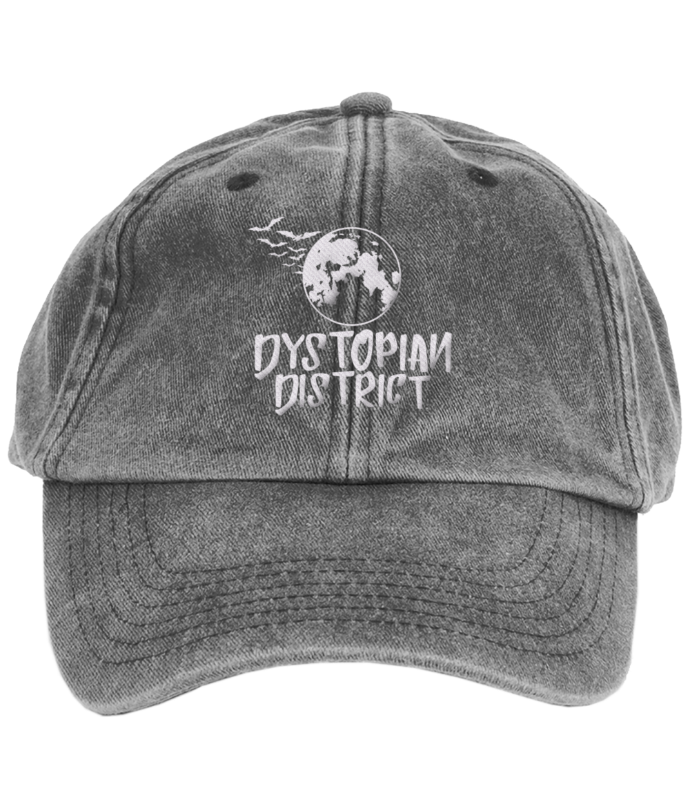 White Moon Embroidered Vintage Black Cap.png