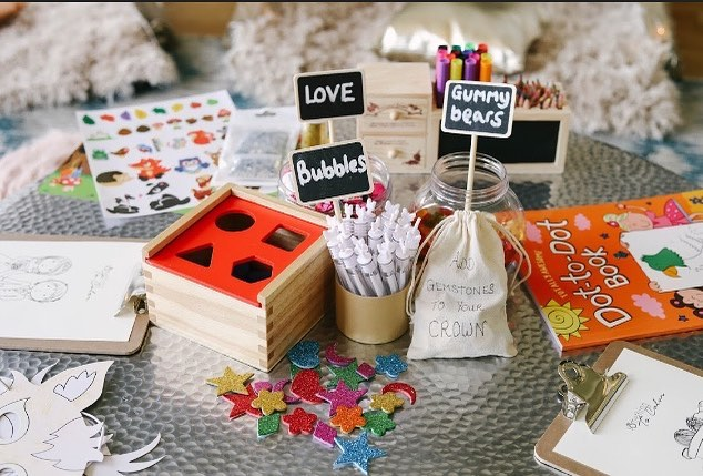 We love little guests getting crafty! Plenty of fun and creativity round this table. #kidsatweddings #becreative #weddingideas #thelittletents #kidscamp #kidscorner