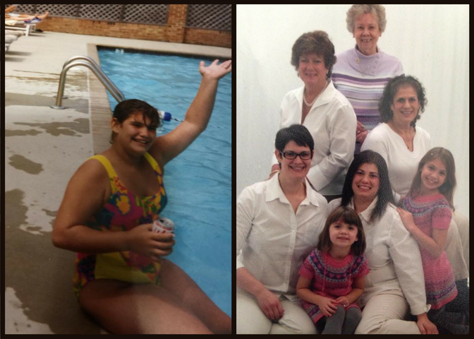 Left: Me; maybe 1992 or 1993. I think I was 10 or 11 when I'd already knew my body was perceived as wrong and had probably dieted at least once. Right: The women on my maternal side. My grandma, my aunt, my mom, my sister, and my nieces; maybe 2009.