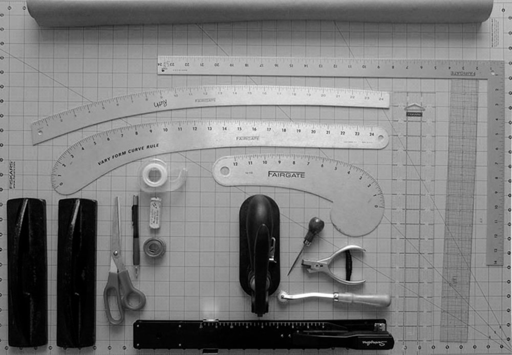 Commonly used drafting tools for pattern making.