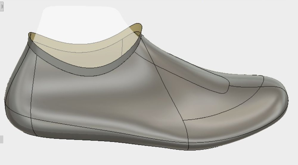 The shoe last model provides a perfect starting point for the design process. With 3D anyone on the team can visualize and edit the model in real-time.