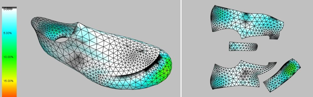 Converting the 3D model into 2D patterns happens in a matter of minutes. The strain and sag display helps save time by identifying possible production or fit problems before any material is cut or sewn.