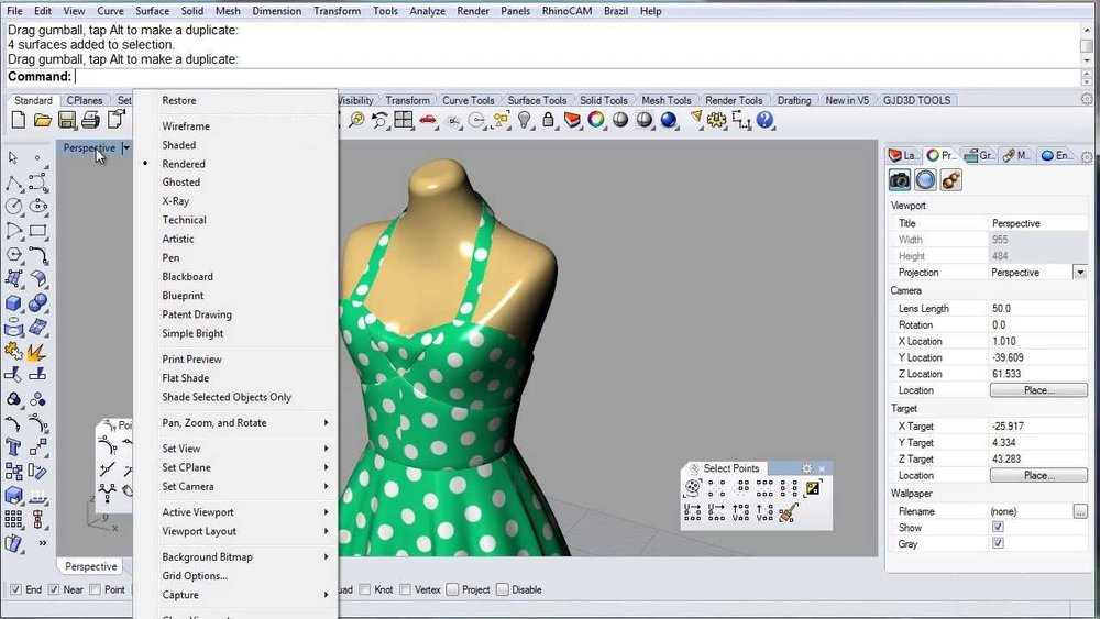 3D Design tools like Rhino 3D and Grasshopper from Robert McNeel and Associates simplfy the process of creating virtual garment models.  (video courtesy of GJD3D)