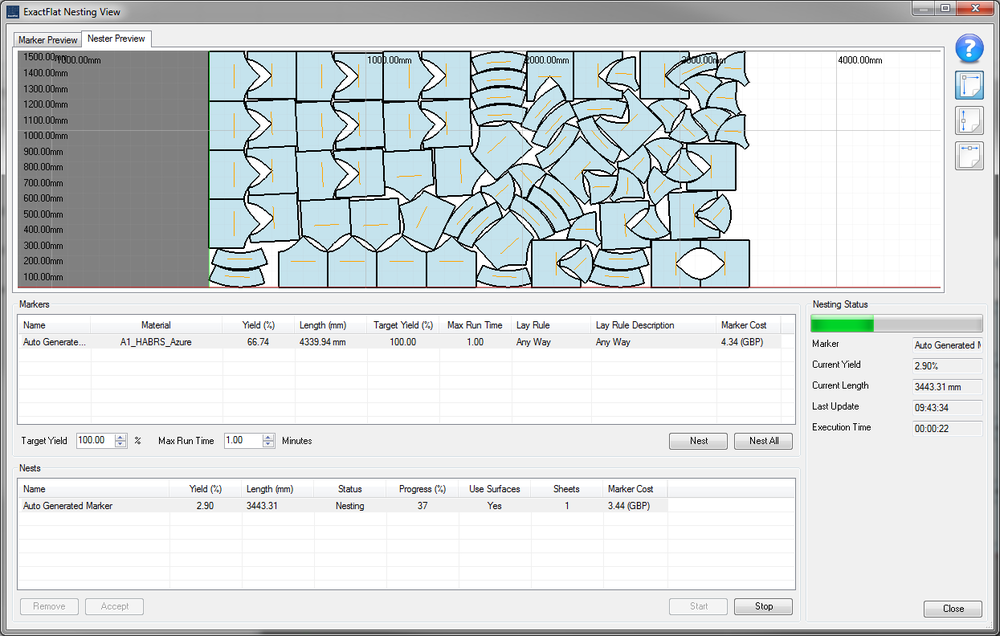 ExactFlat provides tools for  Nesting of multiple versions  for the same piece but at different orientations.  This simulates the actual ply make up and helps optimize material usage. Click on the image to learn more.