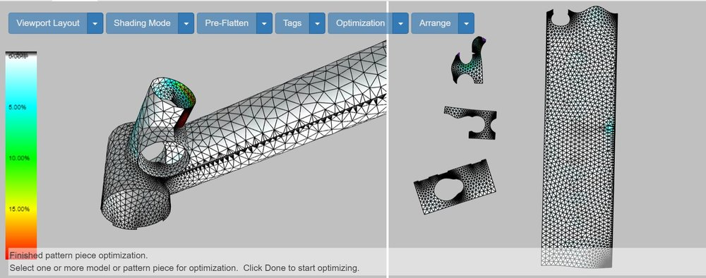 Digital Patterning tools from  ExactFlat  help with every aspect of the pattern creation and ply layup definition including percise flattening and material yield optimization.