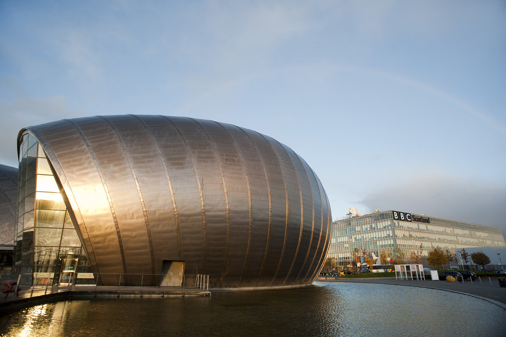 Glasgow Science Center, with the curved metal clad facade, is a typical example of the new generation of organic architeture.