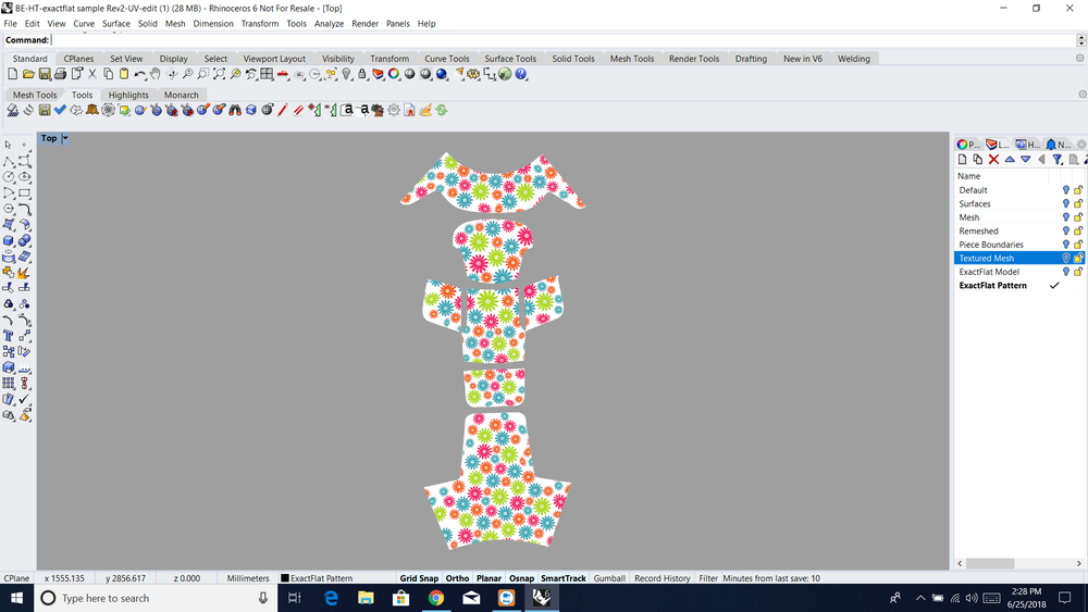 Step 2.  Next, convert the 3D models into 2D pattern pieces with associated graphic textures with ExactFlat.