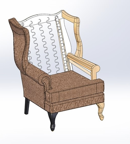 The 3D Model incorporates all parts of the design, from frame, to foam to fabric. The automated associations between the design components mean that changes in one piece are immediately reflected in the others.