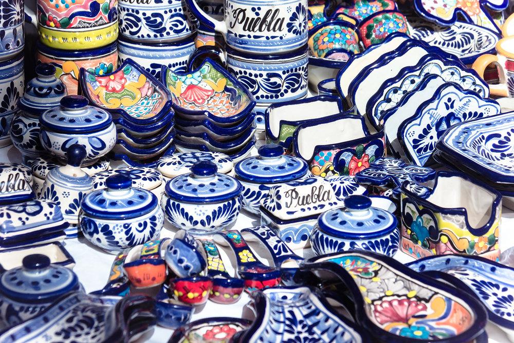 Talevera Pottery in the Analco market