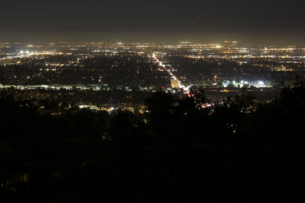 Mulholland Drive at night.