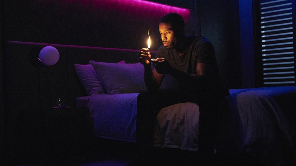 Michael B. Jordan as Guy Montag in  Fahrenheit 451  (2018)