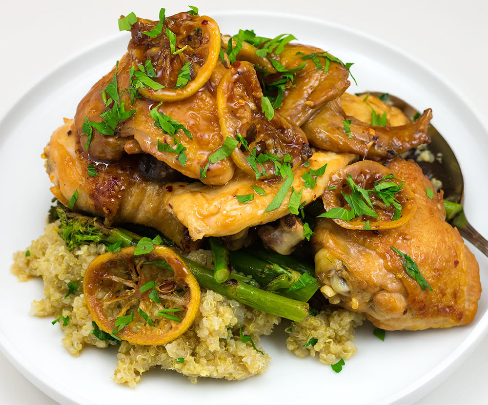 Sticky Lemon Chicken - Herbed Quinoa, Roasted Broccolini, Parsley, Chili Flake, Lemon, Honey, Soy Sauce, Red Wine Vinegar