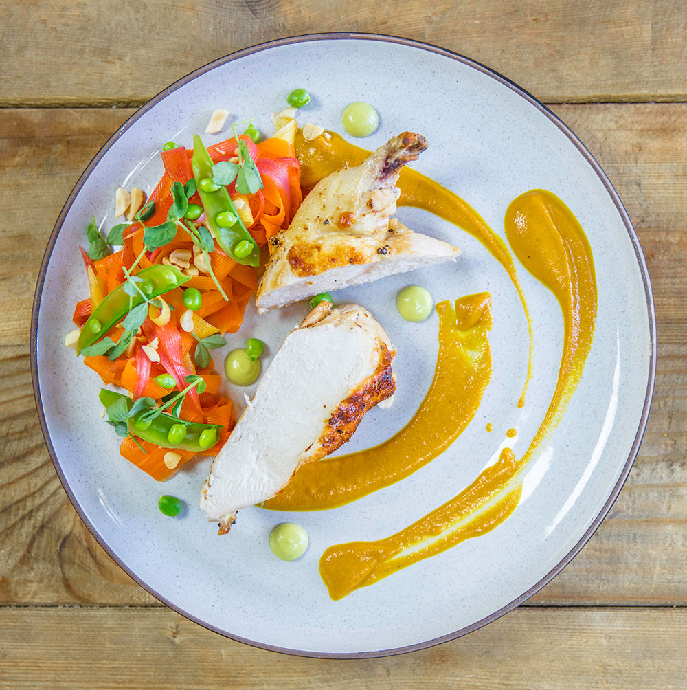 "Chef Cody Beverstock's ""Peas & Carrots"" Dish - Pan Seared Chicken Breast, Roast Carrot & Ginger Purée, Pickled Carrot & Snap Pea Salad, English Pea Aioli, Toasted Peanuts"